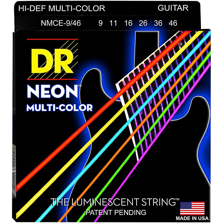DR StringsHi-Def NEON Multi-Color Coated Light N' Heavy Electric Guitar Strings (9-46)