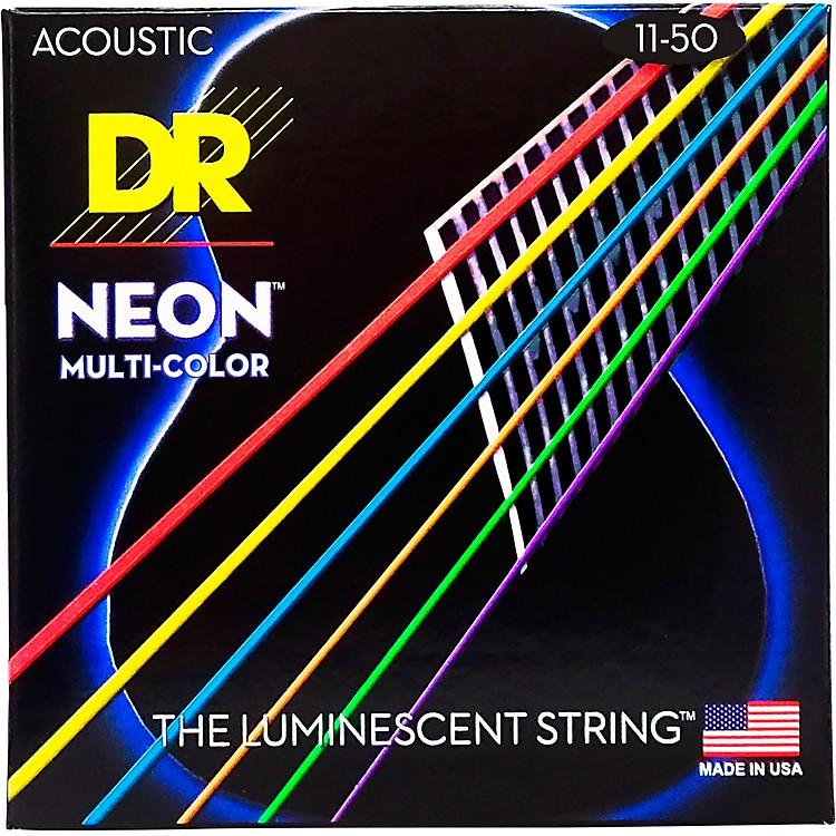 DR StringsHi-Def NEON Multi-Color Coated Medium-Lite Acoustic Guitar Strings