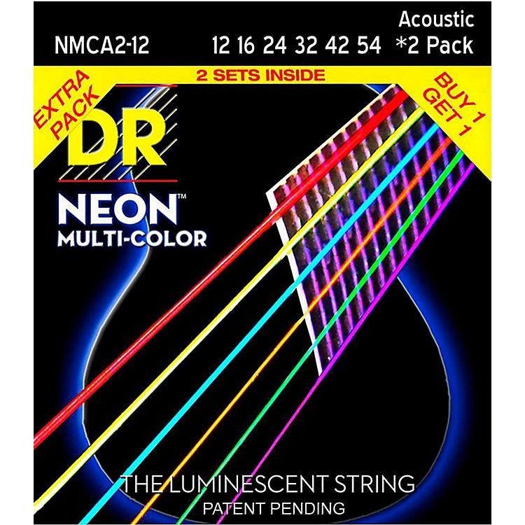 DR StringsHi-Def NEON Multi-Color Medium Acoustic Guitar Strings (12-54) 2 Pack