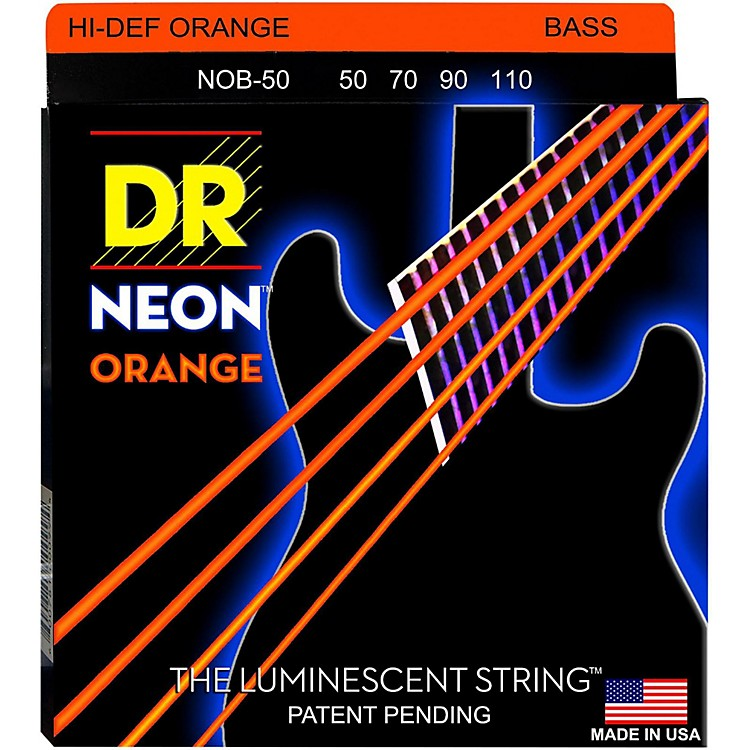 DR StringsHi-Def NEON Orange Coated 4-String Bass Strings Heavy (50-110)