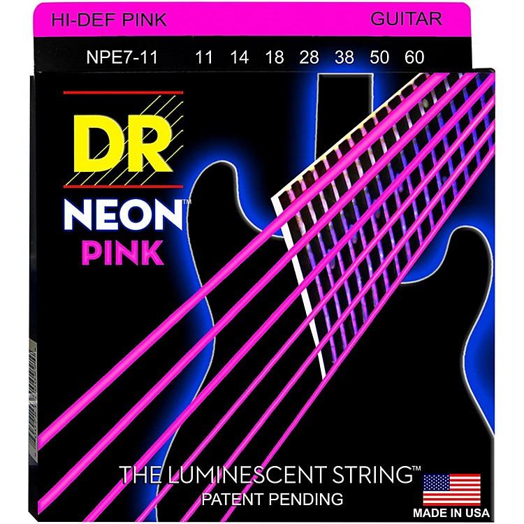 DR StringsHi-Def NEON Pink Coated Heavy 7-String Electric Guitar Strings (11-60)