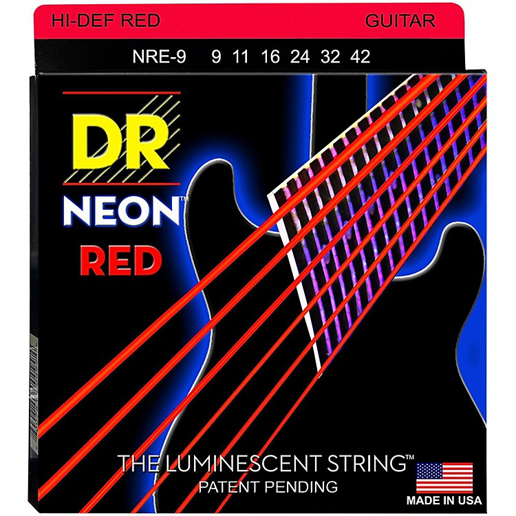 DR Strings Hi-Def NEON Red Coated Light (9-42) Electric Guitar Strings
