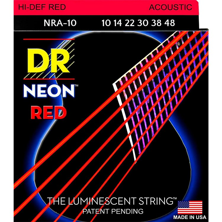 DR Strings Hi-Def NEON Red Coated Lite Acoustic Guitar Strings (10-48)