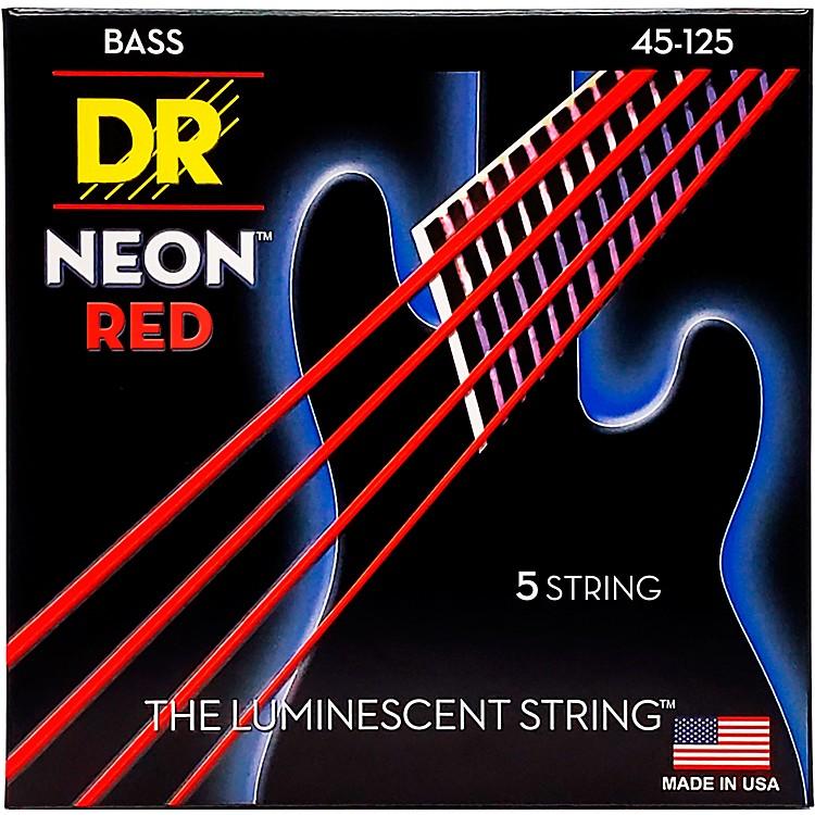 DR StringsHi-Def NEON Red Coated Medium 5-String (45-125) Bass Guitar Strings