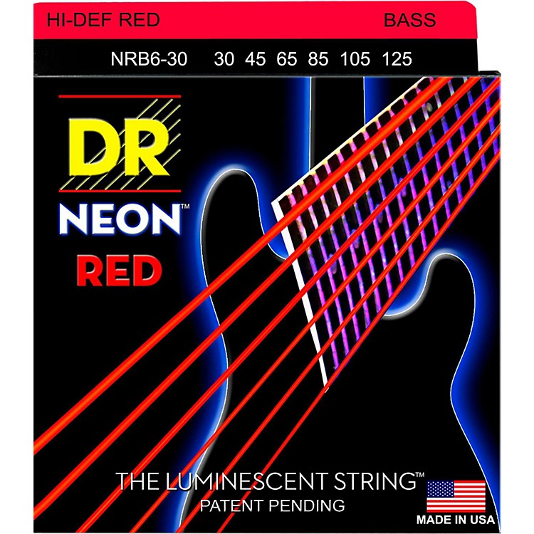 DR StringsHi-Def NEON Red Coated Medium 6-String Bass Strings (30-125)