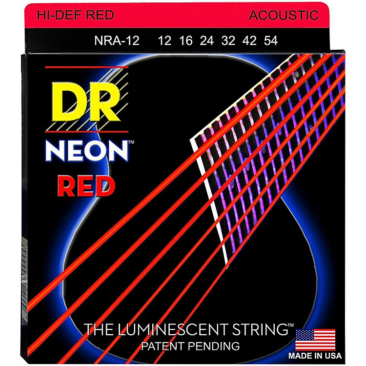 DR StringsHi-Def NEON Red Coated Medium Acoustic Guitar Strings (12-54)