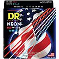 DR Strings Hi-Def NEON Red, White & Blue Acoustic Guitar Medium-Heavy Strings