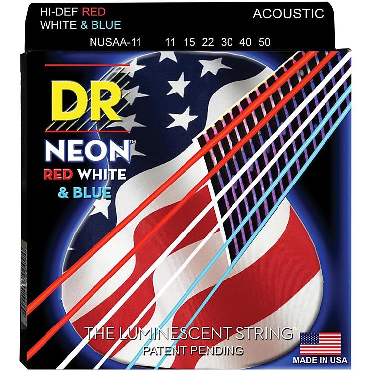 DR StringsHi-Def NEON Red, White & Blue Acoustic Guitar Medium-Lite Strings(11-50)