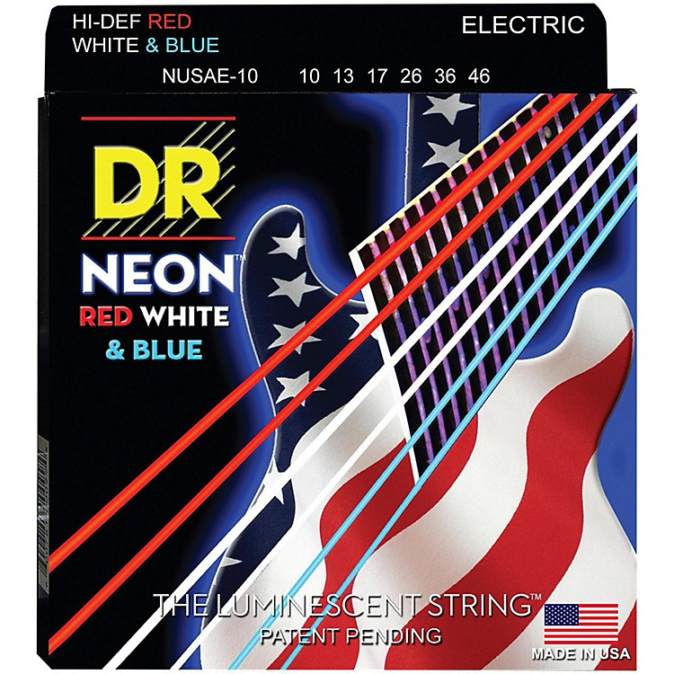 DR Strings Hi-Def NEON Red, White & Blue Electric Guitar Medium Strings (10-46)