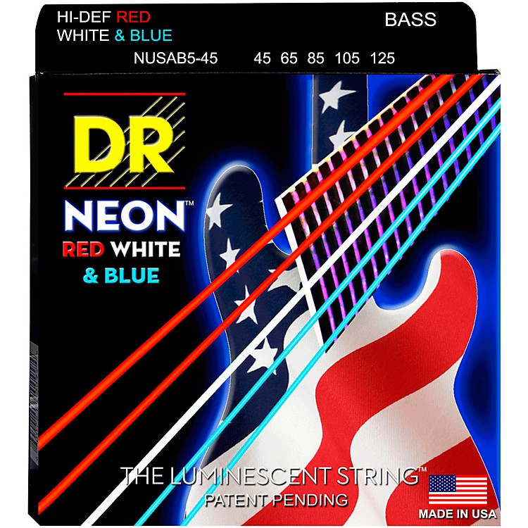 DR Strings Hi-Def NEON Red, White & Blue Electric Medium 5-String Bass Strings (45-125)