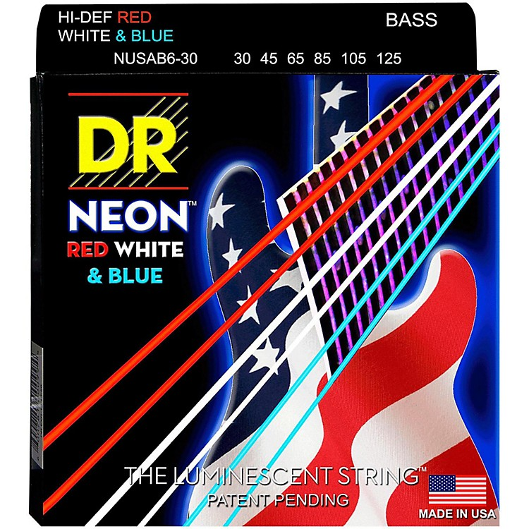 DR Strings Hi-Def NEON Red, White & Blue Electric Medium 6-String Bass Strings (30-125)