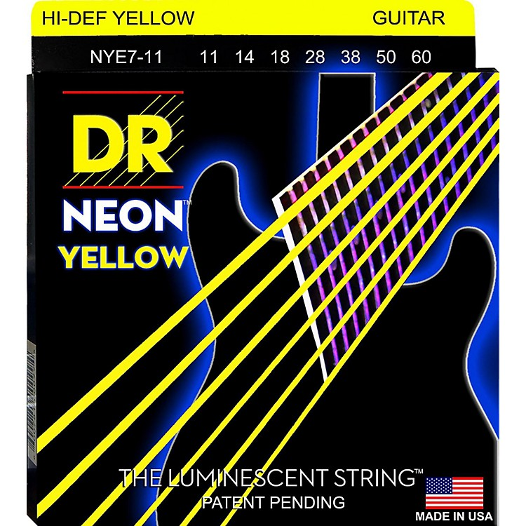 DR StringsHi-Def NEON Yellow Coated Heavy 7-String Electric Guitar Strings (11-60)