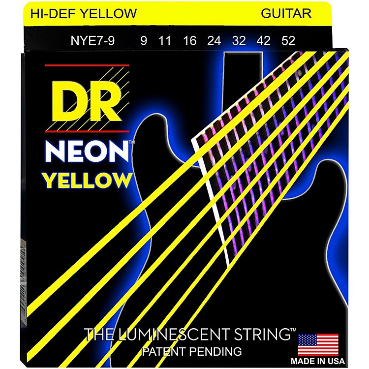 DR StringsHi-Def NEON Yellow Coated Lite 7-String Electric Guitar Strings (9-52)