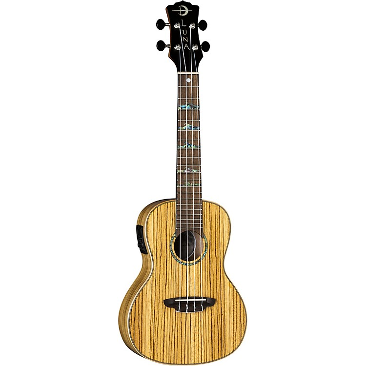 Luna Guitars High Tide Zebrawood Concert Acoustic-Electric Ukulele Zebrawood