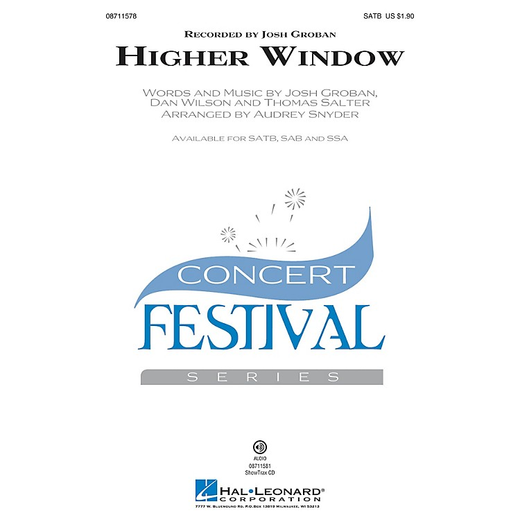 Hal Leonard Higher Window ShowTrax CD by Josh Groban Arranged by Audrey Snyder