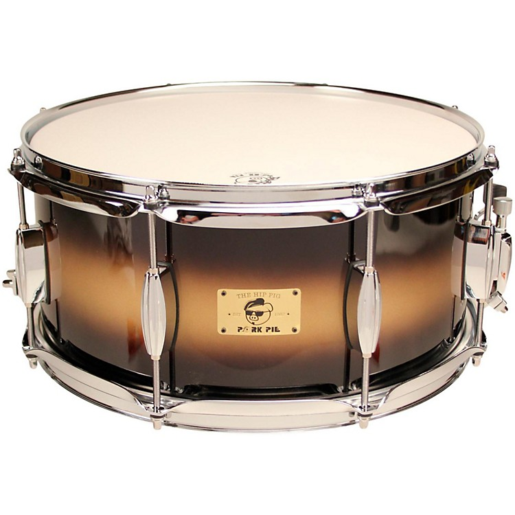 Pork PieHip Pig Eastern Mahogany Snare Drum14 x 6.5 in.Black/Gold Duco Finish
