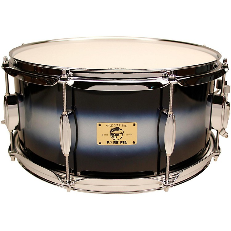 Pork PieHip Pig Eastern Mahogany Snare Drum14 x 6.5 in.Blue/Silver Duco Finish