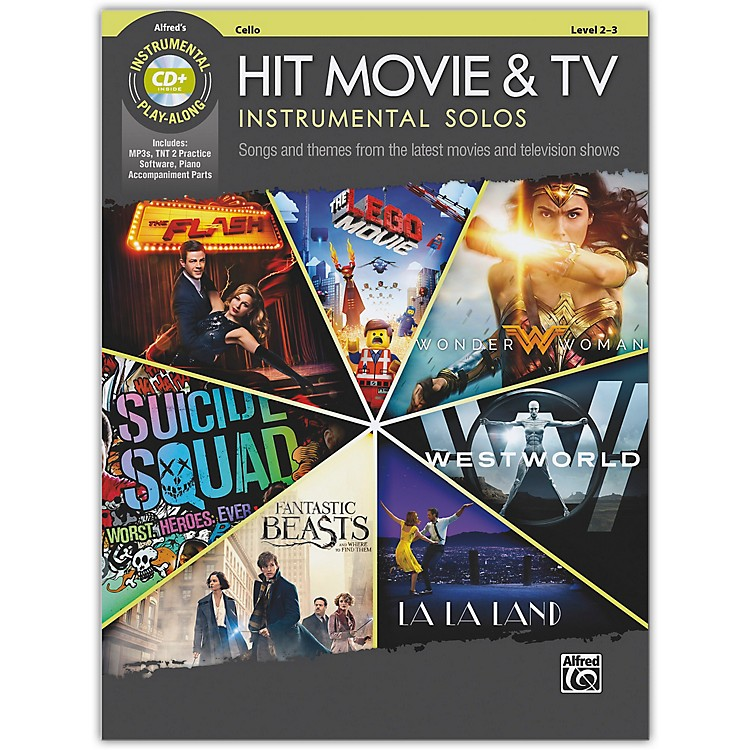 AlfredHit Movie & TV Instrumental Solos for Strings Cello Book & CD Level 2-3