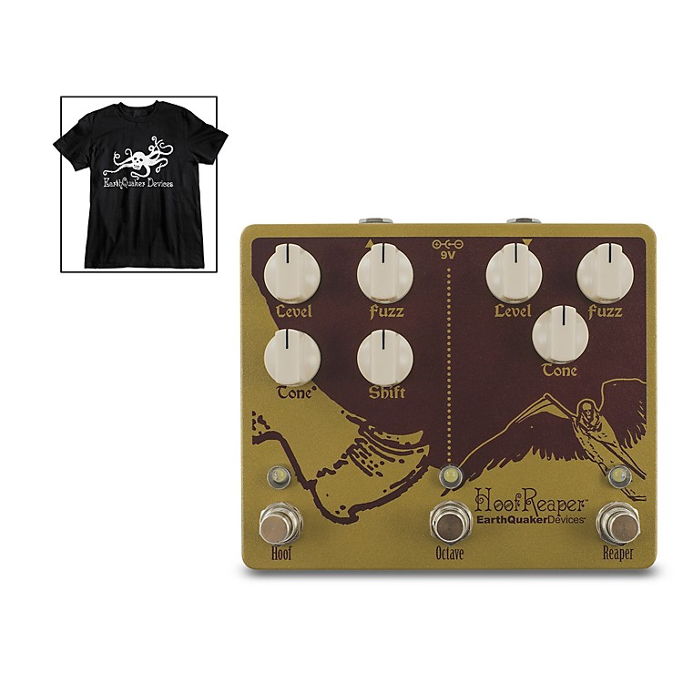 EarthQuaker DevicesHoof Reaper V2 Effects Pedal and Octoskull T-Shirt Large Black