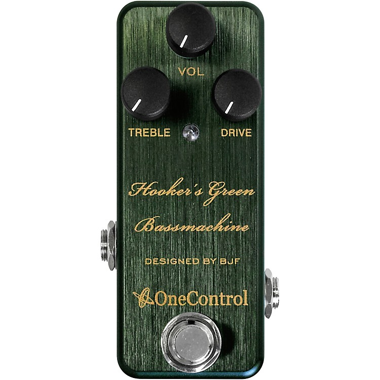 One ControlHooker's Green Bassmachine Overdrive Effects Pedal