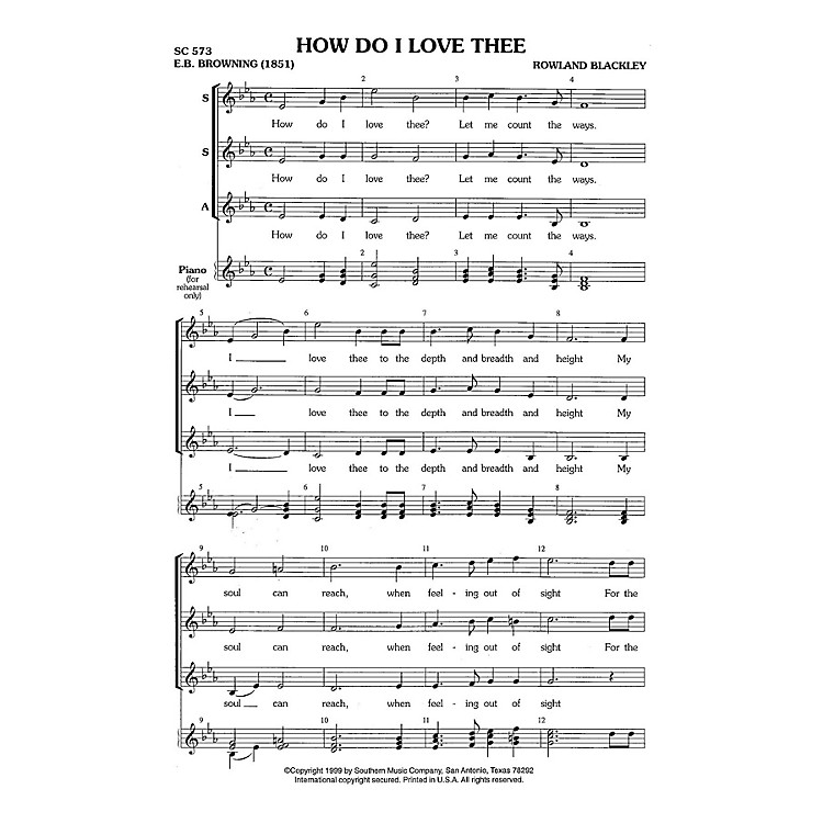 Hal LeonardHow Do I Love Thee? (Choral Music/Octavo Secular Ssa) SSA Composed by Blackley, Rowland