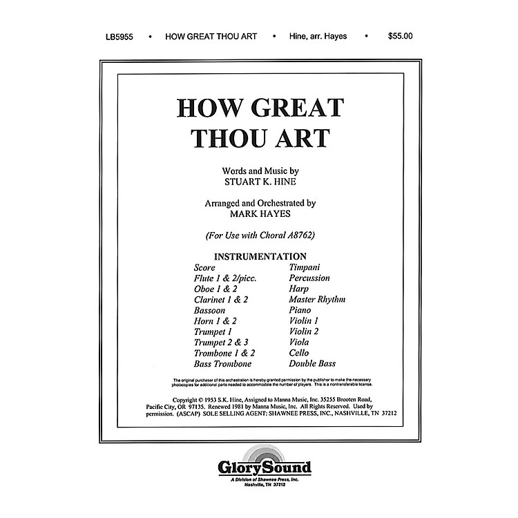 Shawnee Press How Great Thou Art (Orchestration) Score & Parts arranged by Mark Hayes