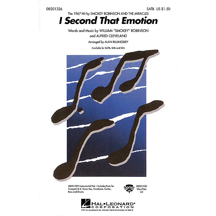 Hal LeonardI Second That Emotion SATB by The Miracles arranged by Alan Billingsley