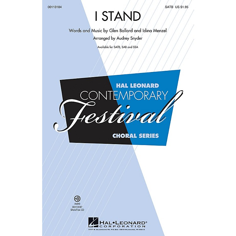Hal Leonard I Stand (SAB) SAB by Idina Menzel Arranged by Audrey Snyder