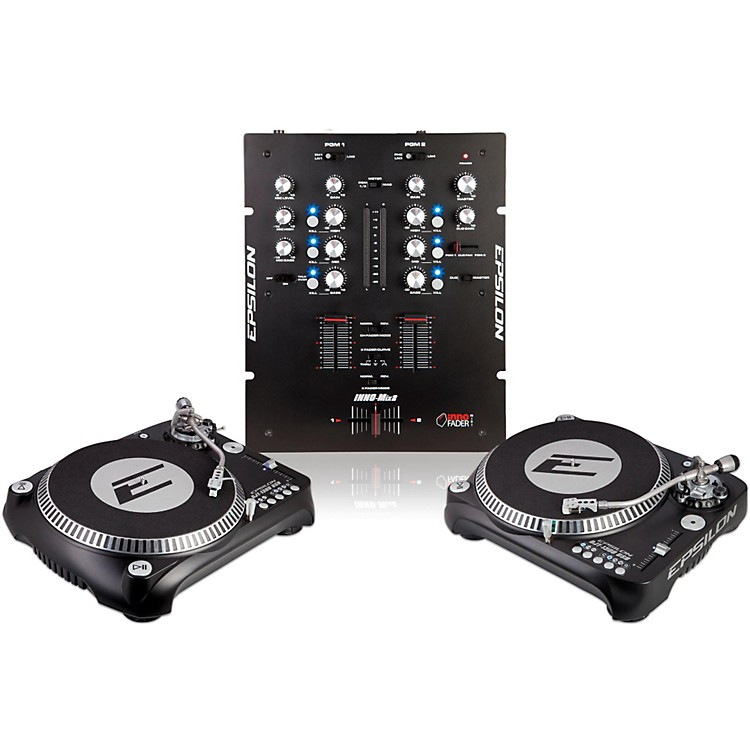 EPSILON INNO-PROPAK DJT-1300 USB Turntable (2) and INNO-MIX2 Mixer (1) Black