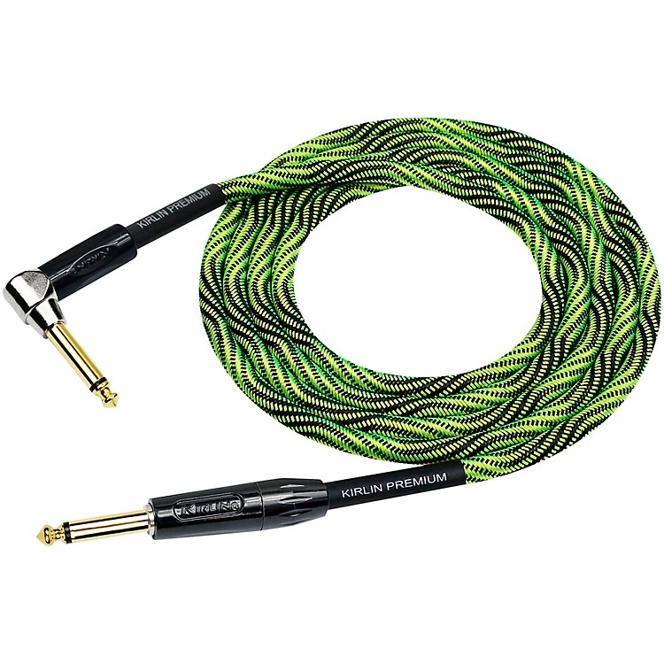 KIRLINIWB Black/Green Woven Instrument Cable 1/4