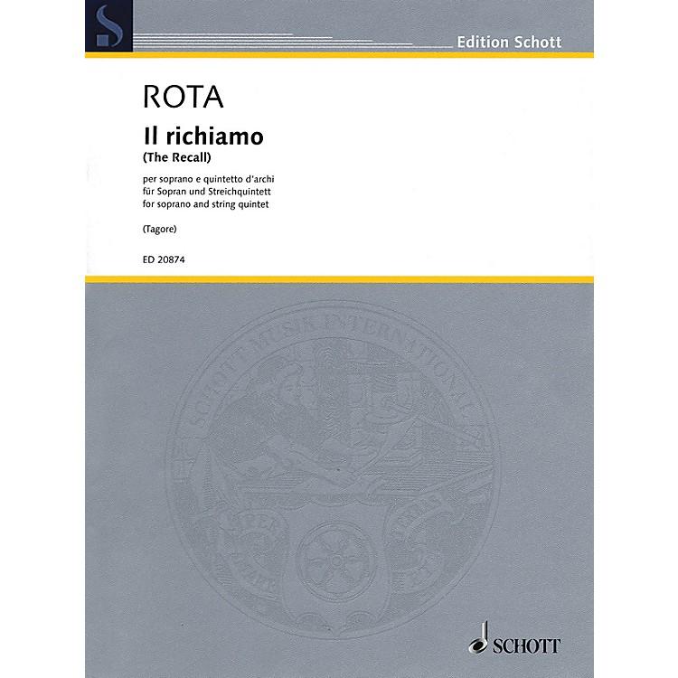 SchottIl richiamo (Soprano and String Quartet) Schott Series Softcover Composed by Nino Rota