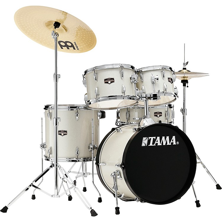 TAMAImperialstar 5-Piece Complete Drum Set with 18 in. Bass Drum and Meinl HCS CymbalsVintage White Sparkle
