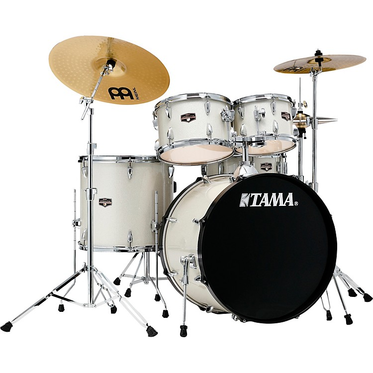 TAMAImperialstar 5-Piece Complete Drum Set with 22 in. Bass Drum and Meinl HCS CymbalsVintage White Sparkle