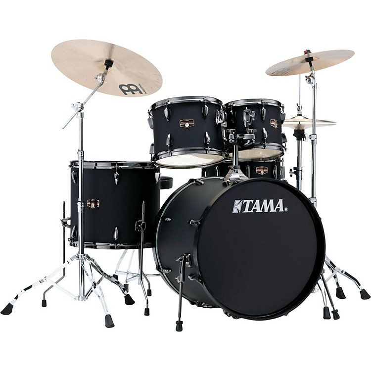 Tama Imperialstar 5-Piece Complete Kit Blacked Out Black with Meinl HCS Cymbals Vintage Red