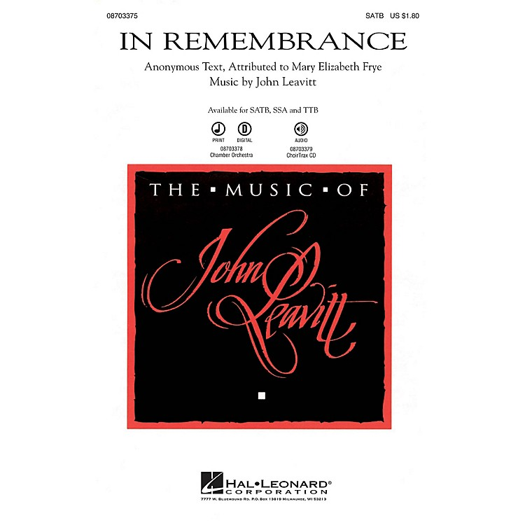 Hal Leonard In Remembrance SSA Composed by John Leavitt