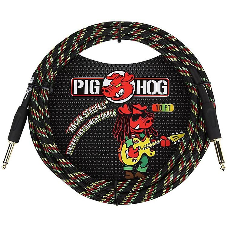 Pig HogInstrument Cable10 ft.Rasta Stripes