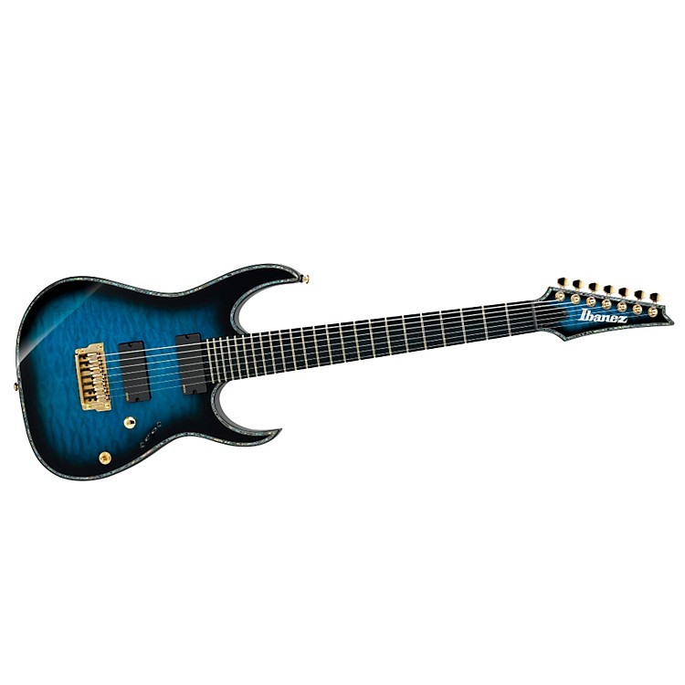 IbanezIron Label RG Series RGIX27FEQM 7-String Electric GuitarTransparent GrayQuilted Maple