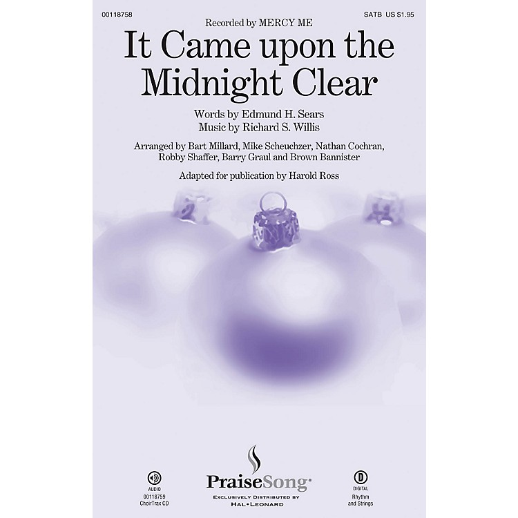 PraiseSong It Came upon a Midnight Clear SATB by Mercy Me arranged by Harold Ross
