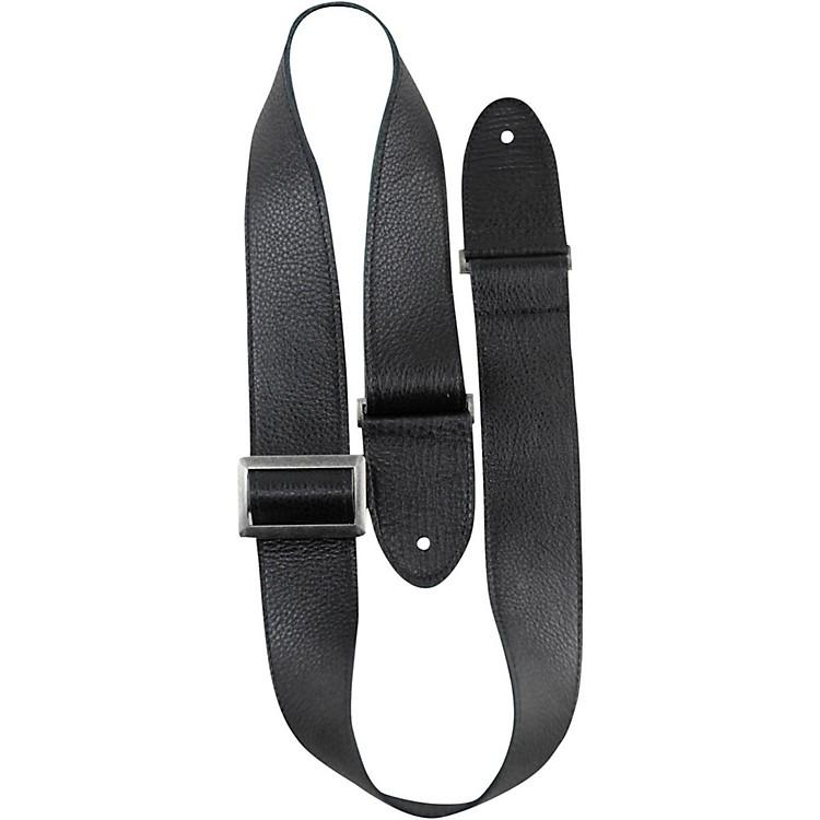 Perri'sItalian Leather With Vintage Metal Hardware Adjustable Guitar StrapBlack2 in.