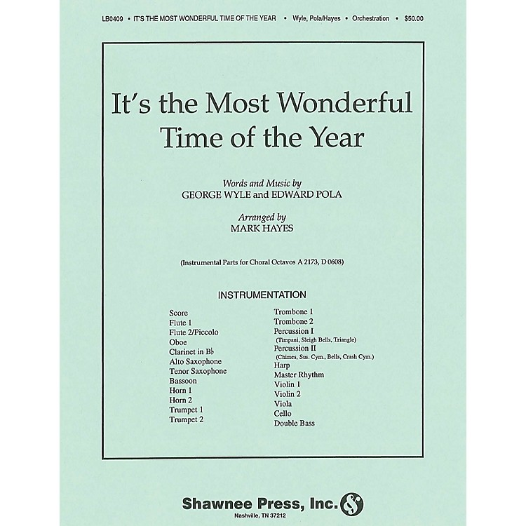 Shawnee PressIt's the Most Wonderful Time of the Year INSTRUMENTAL ACCOMP PARTS arranged by Mark Hayes