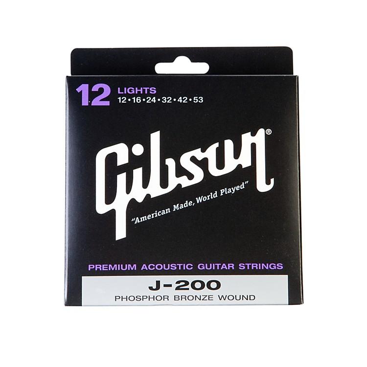 GibsonJ200L Deluxe Phosphor Bronze Light Acoustic Guitar Strings