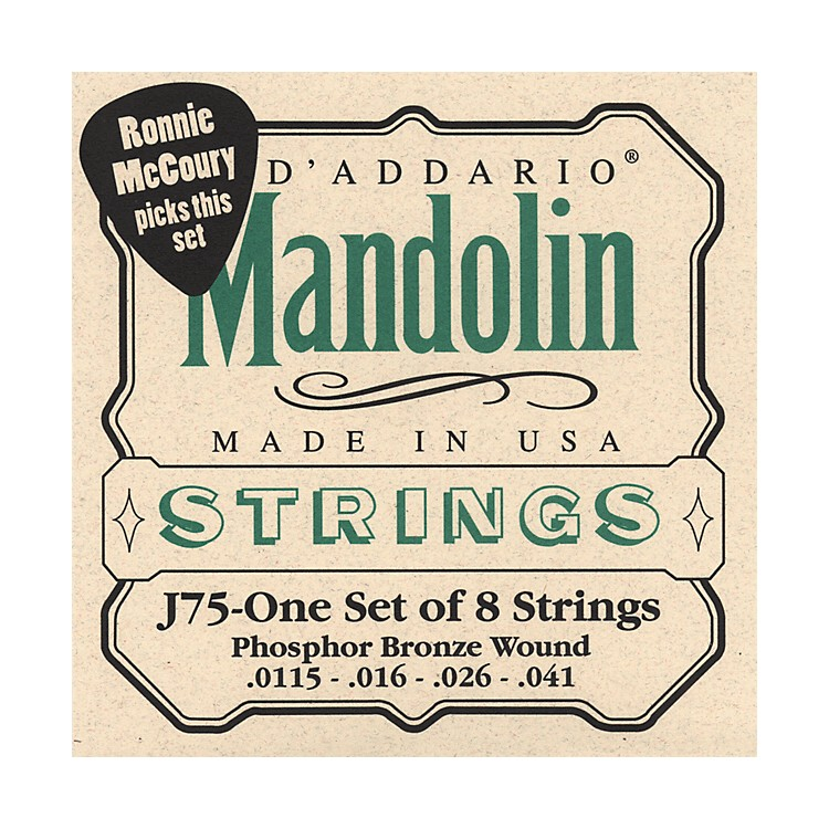 D'Addario J75 Medium/Heavy Phosphor Bronze Wound Bluegrass Mandolin Strings