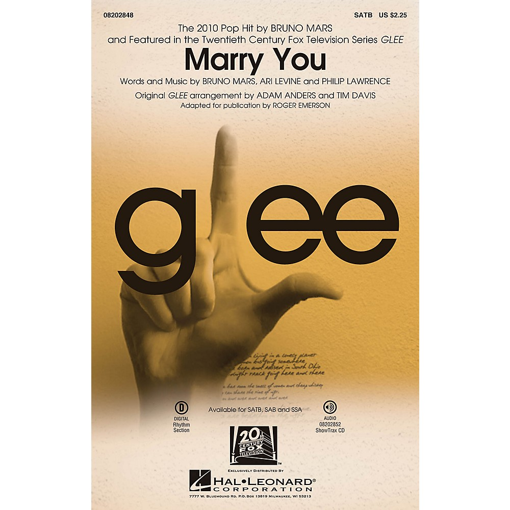 Details about Marry You (featured in Glee) SSA by Bruno Mars Arranged by  Adam Anders