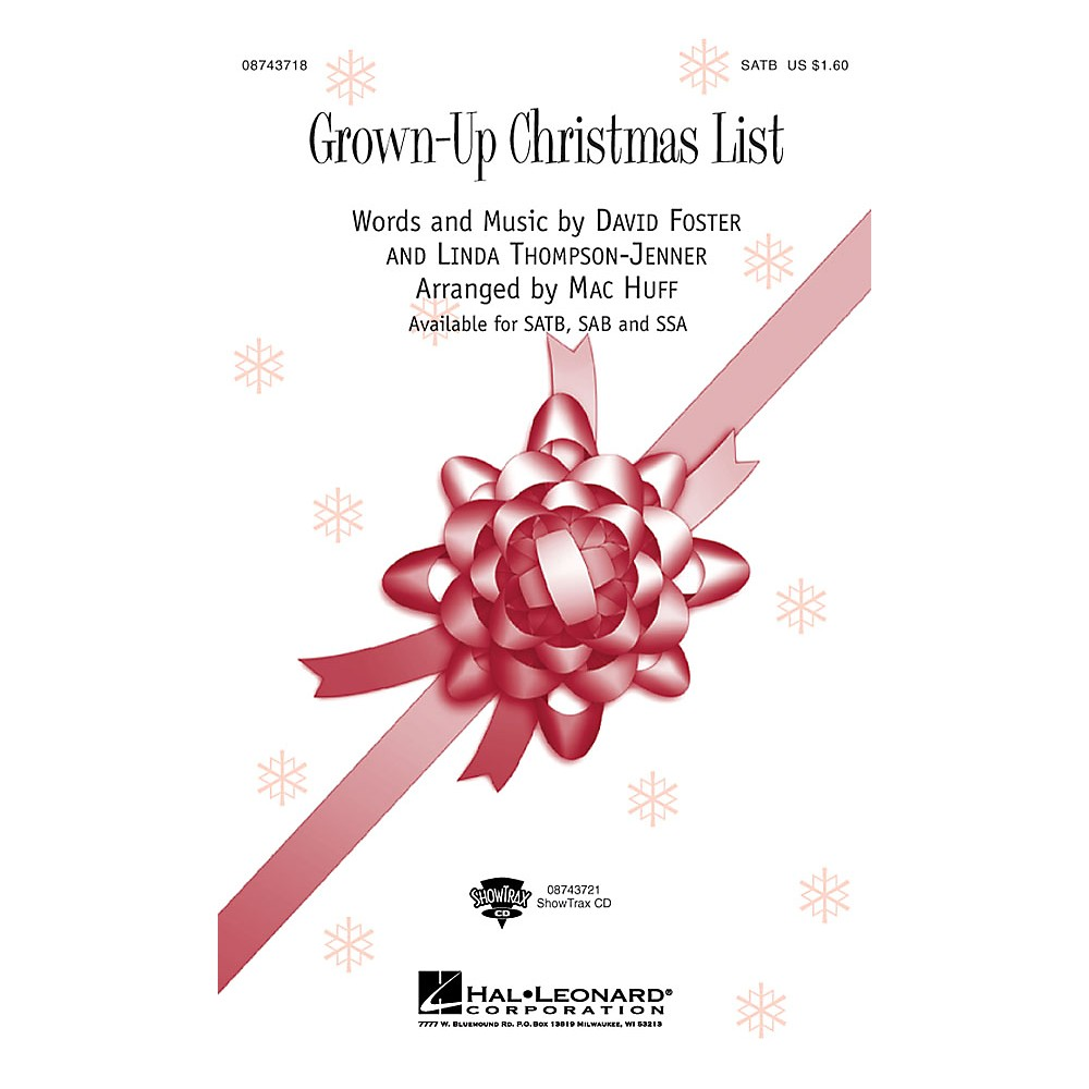 Hal Leonard Grown Up Christmas List SAB by Amy Grant Arranged by Mac Huff 73999437195 | eBay