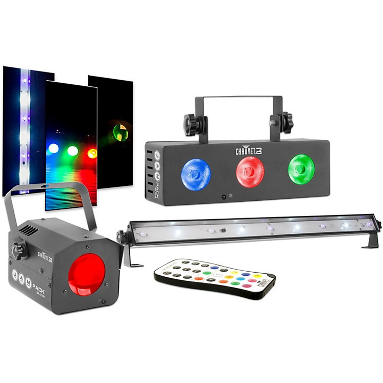 CHAUVET DJJAM Pack Silver Moonflower Projection Light Effect with Tri-Color LED Wash and UV Strobe Light