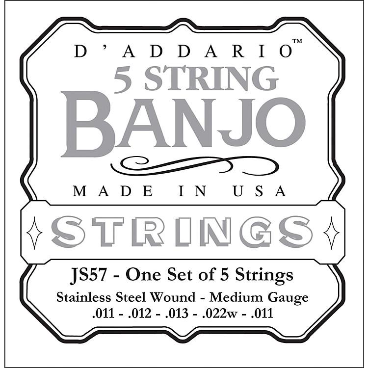 D'AddarioJS57 Stainless Steel Medium Banjo Strings