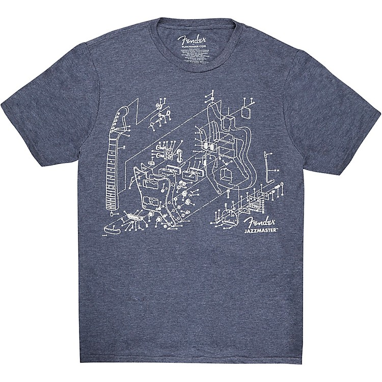 Fender Jazzmaster Patent Drawing Tee Small Blue