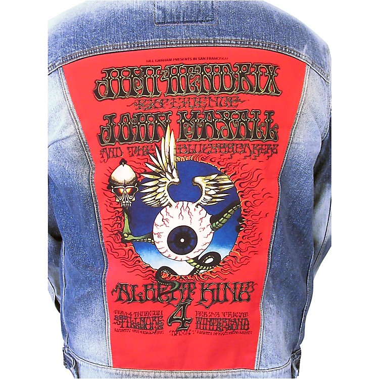 Dragonfly Clothing Jimi Hendrix - Mayall - King - Flying Eye Womens Denim Jacket Small