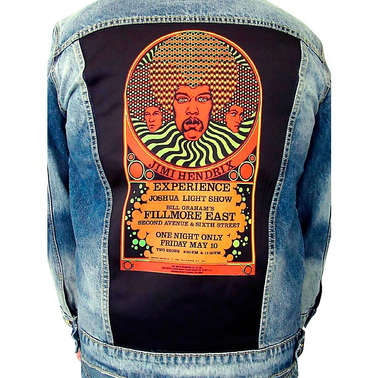 Dragonfly Clothing Jimi Hendrix Experience 3 Faces - Psychedelic Denim Jacket Large