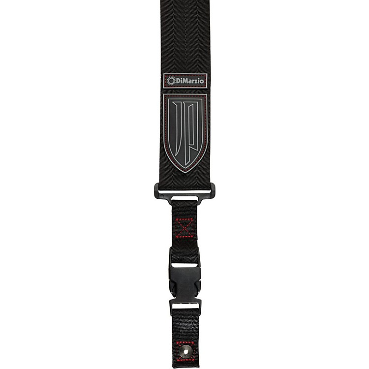 DiMarzio John Petrucci Nylon ClipLock Guitar Strap Black with Red Thread